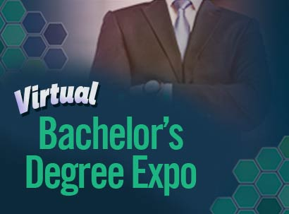 man in suit with Bachelor's Degree Expo