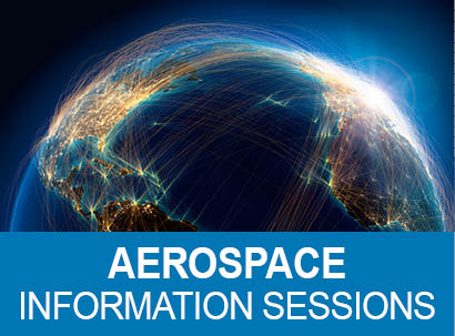 Earth image with text: Aerospace Information Sessions