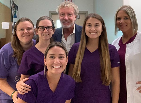 Four sonography students and two instructors