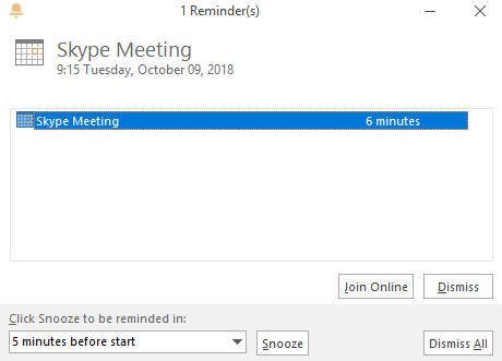 Meeting Reminder in Outlook