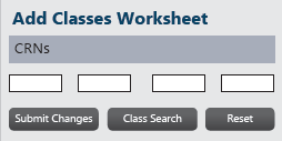 Add classes worksheet with boxes for CRNs