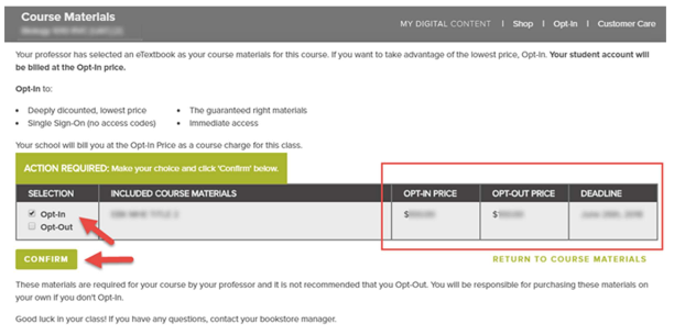 Screenshot of First Day access with arrow pointing at opt-in choice