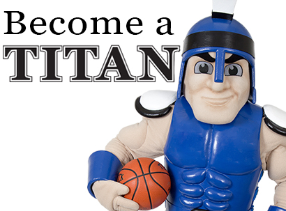 Mr Titan mascot and basketball; text Become a Titan