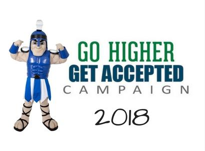 Mr Titan mascot and Go Higher, Get Accepted text