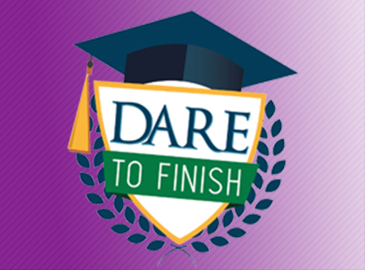 Dare to Finish shield on purple background