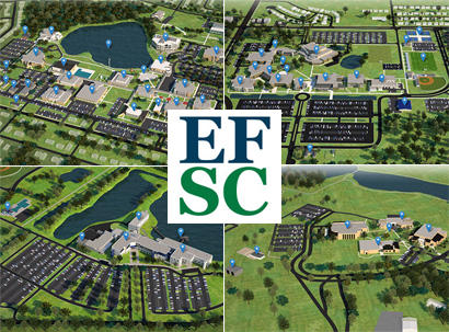 Four campus map images with EFSC logo