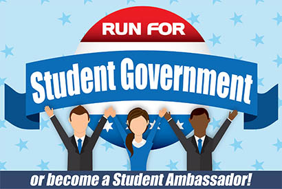 Run for Student Govt or Become a Student Ambassador cartoon image