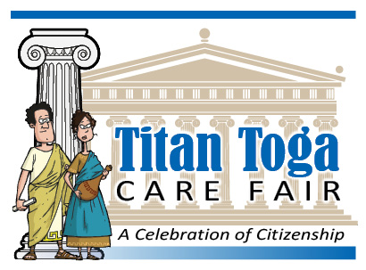 Greek style cartoon image with Titan Toga Care Fair text