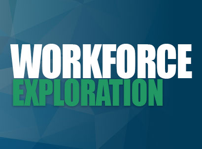 Workforce Exploration text over blue and green