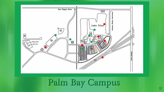 Palm Bay map over green background