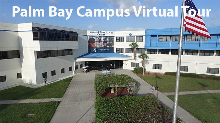 Palm Bay Campus Building with Flag