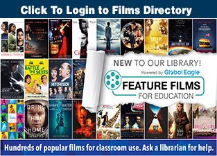 "small images of movie posts with text:""Click to login to Films Directory"" and ""Hundreds of popular films for classroom use. Ask a librarian for help."""