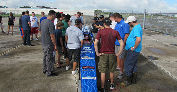 Aviation Students with Jet Dragster