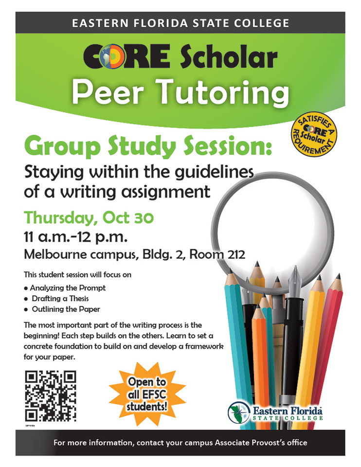 Staying within the guidelines of a writing assignment group study session flyer