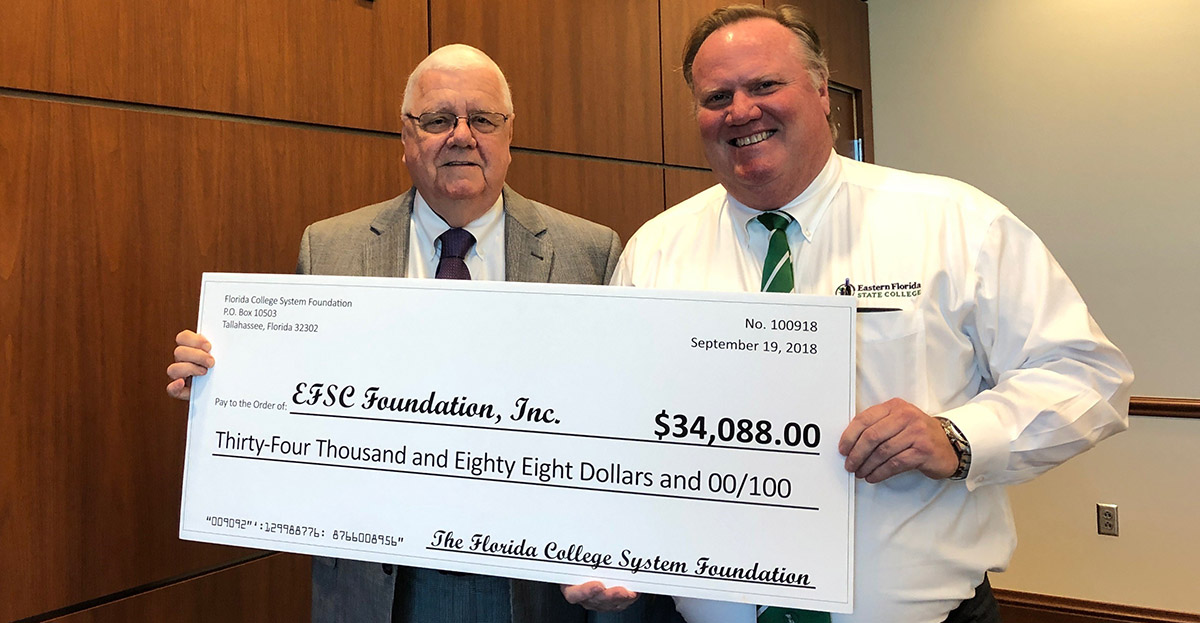 Two men with $34,088 check: Tom Furlong and Dr. Jim Richey