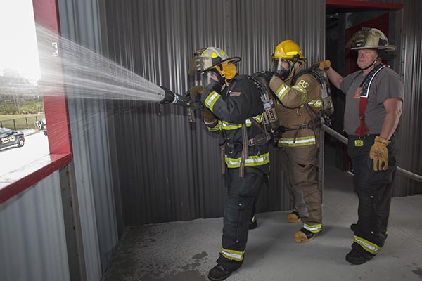 Fire Training facility with fire fighter students