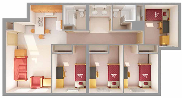 artist rendering of apartment suite