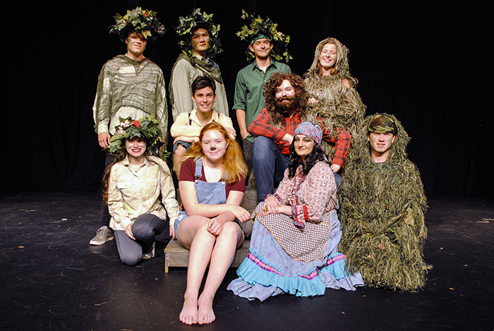 student actors in nature themed costumes