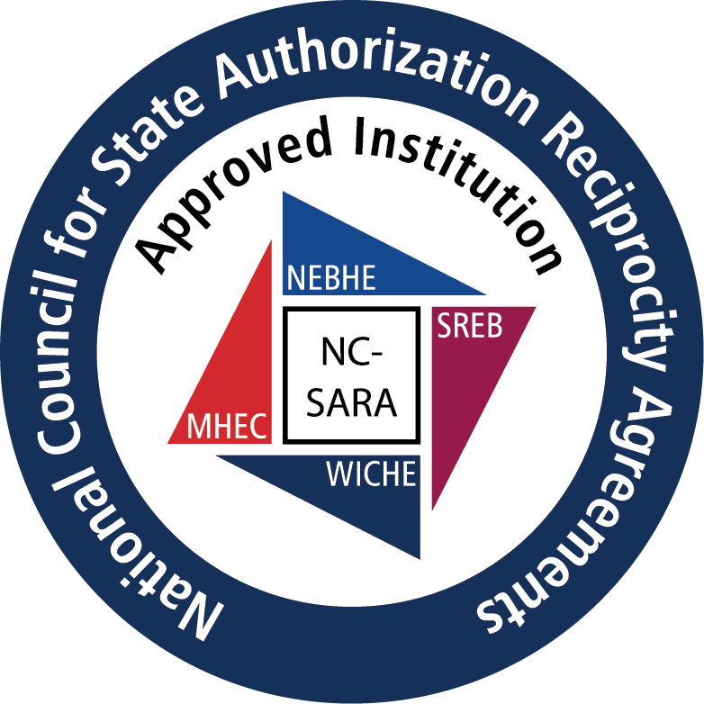 circular blue approved institution logo with text National Council for State Authorization Reciprocity Agreements