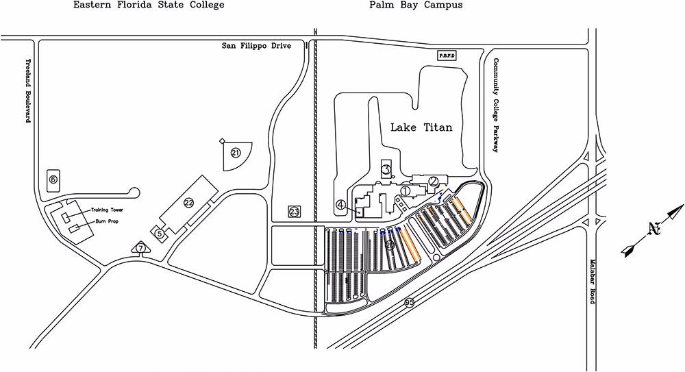 Eastern Florida State College Palm Bay Campus Maps - Map of eastern florida