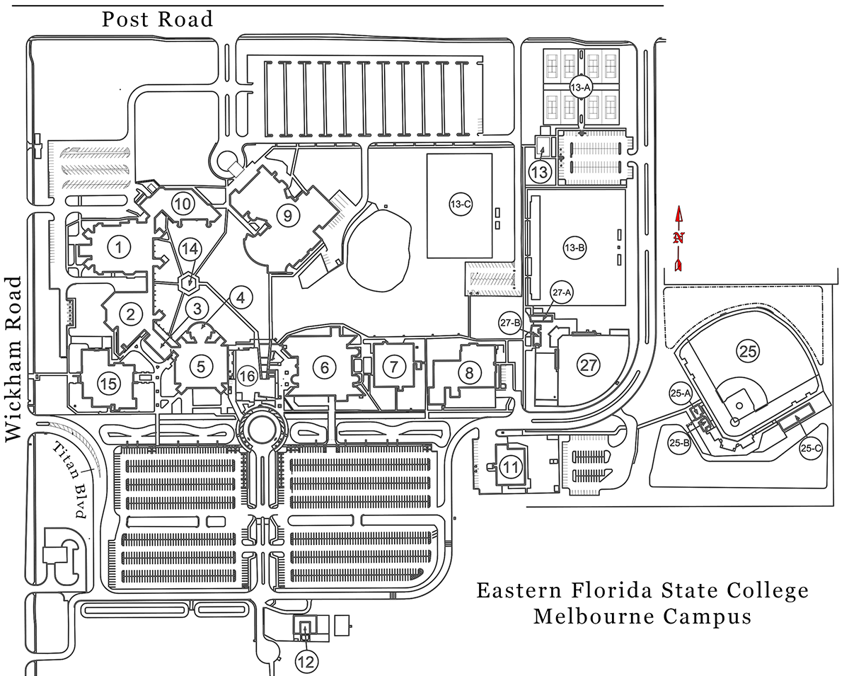 Ucf Cocoa Campus Map.Eastern Florida State College Melbourne Campus Maps