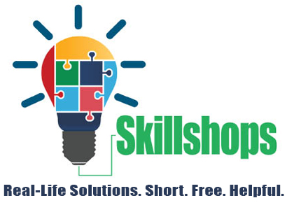 Skillshops lightbulb graphic and text: real-life solutions.