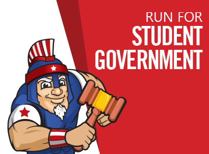 "Mr. Titan holds a gavel. The text reads, ""Run for Student Government."""