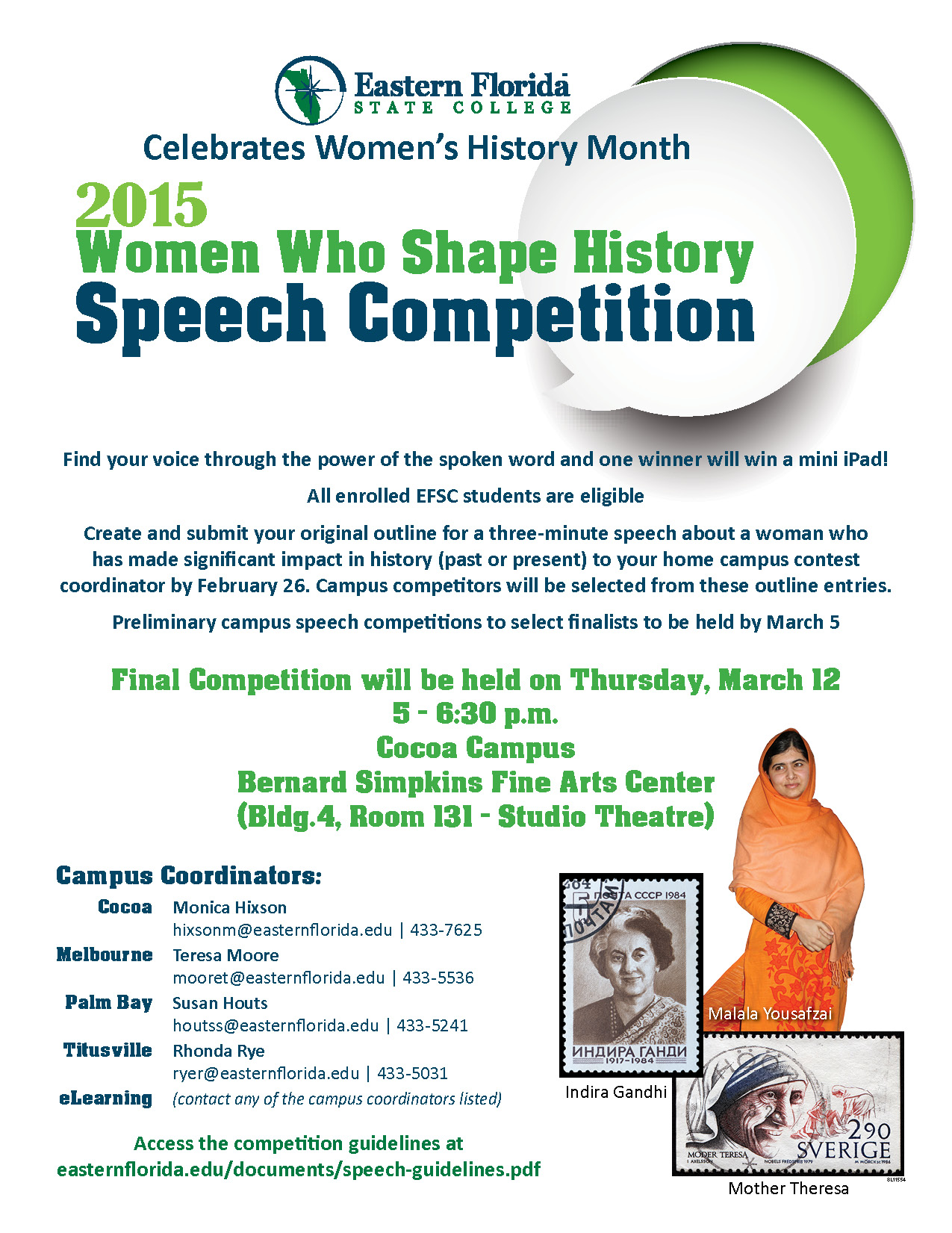 Eastern Florida State College Cocoa >> Eastern Florida State College | Women Who Shape History Speech Competition