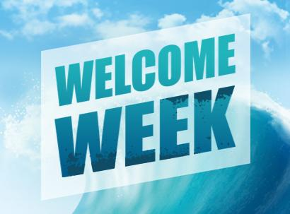 Image of an ocean wave with the words Welcome Week