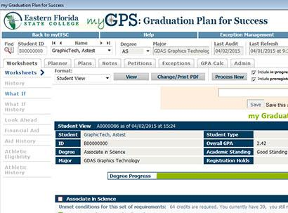 myGPS Degree Audit Tool